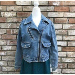Asymmetrical VTG Liz Claiborne Jean Jacket Sz 4